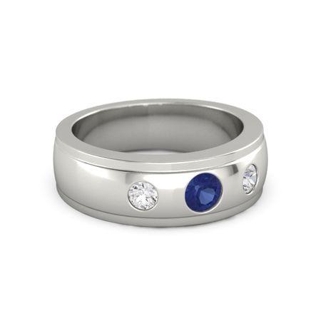 14wg s j j p - Mens Sapphire Wedding Rings