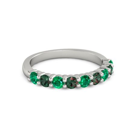 14k white gold ring with emerald and alexandrite nine