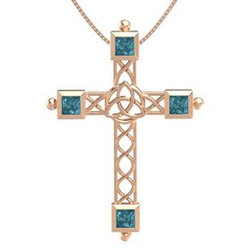 14K Rose Gold Pendant with London Blue Topaz