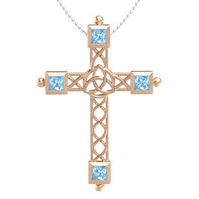 14K Rose Gold Necklace with Blue Topaz