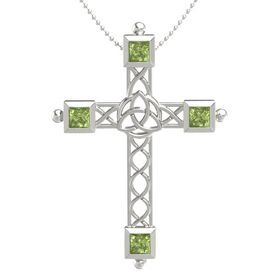 14K White Gold Necklace with Peridot