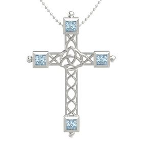 14K White Gold Pendant with Aquamarine