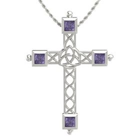 14K White Gold Pendant with Iolite