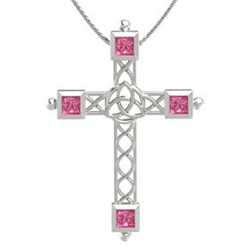 14K White Gold Necklace with Pink Tourmaline