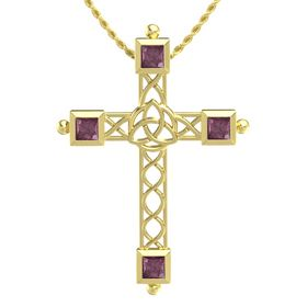 14K Yellow Gold Pendant with Rhodolite Garnet