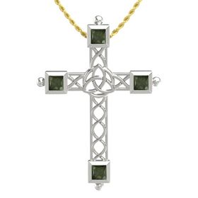 Platinum Pendant with Green Tourmaline