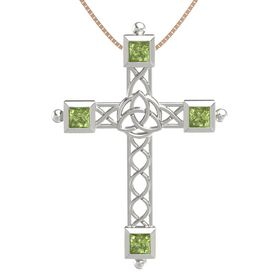 Platinum Necklace with Peridot