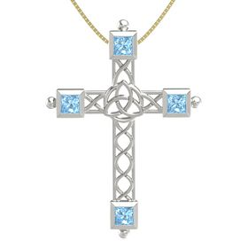Platinum Pendant with Blue Topaz