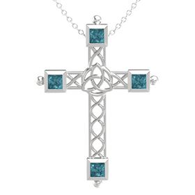 Sterling Silver Pendant with London Blue Topaz