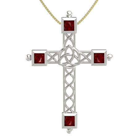 Triquetra Cross - 14K White Gold Pendant with Ruby