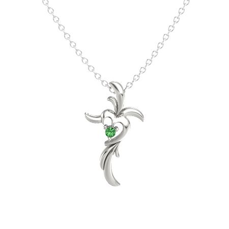 14k white gold pendant with emerald glorious heart cross gemvara glorious heart cross aloadofball Gallery