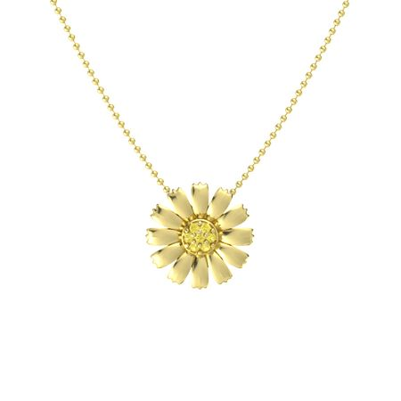 Round yellow sapphire 14k yellow gold necklace with yellow sapphire daisy pendant aloadofball Gallery