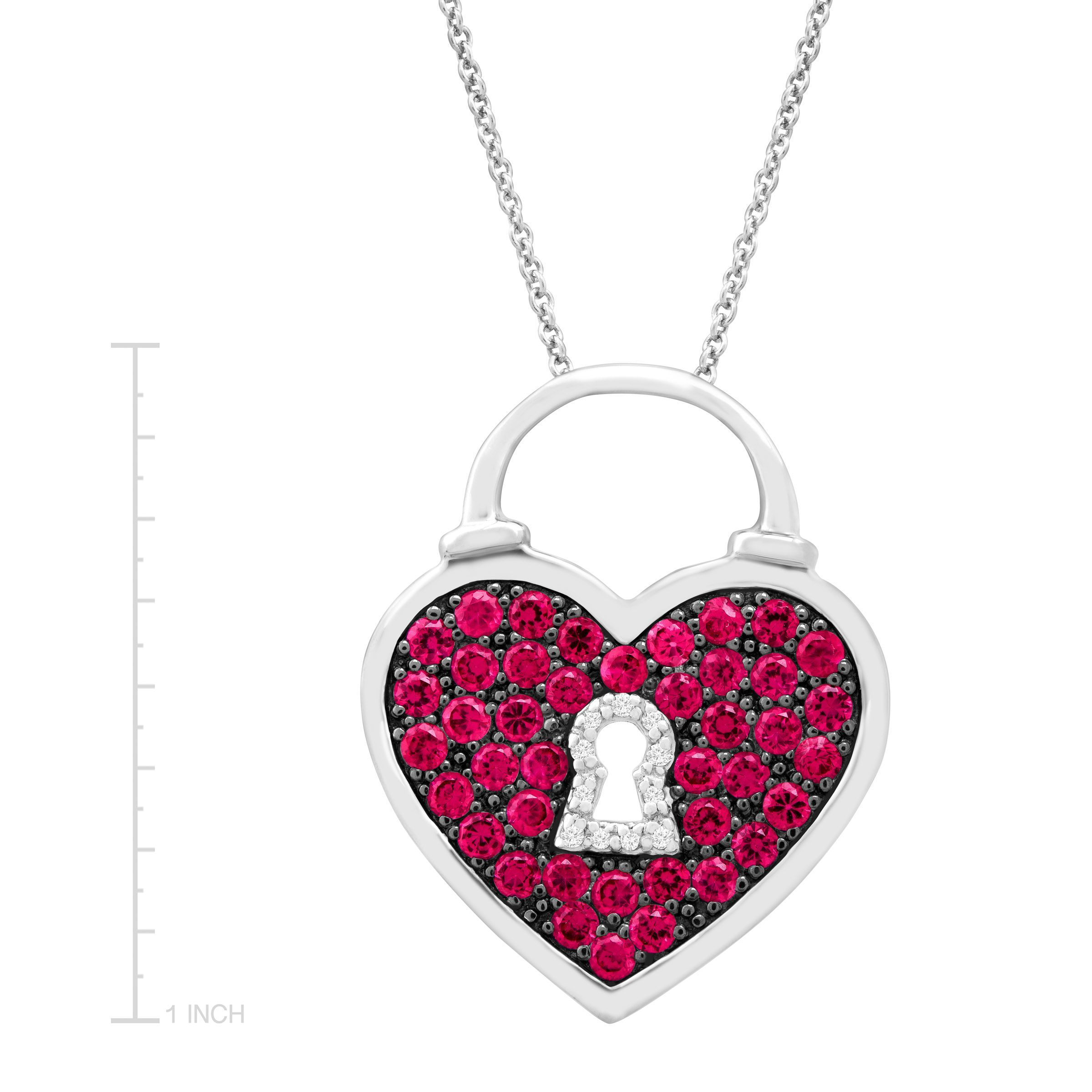 1 ct created ruby heart pendant with diamonds in sterling silver 1 ct created ruby heart pendant with diamonds in sterling silver aloadofball Image collections