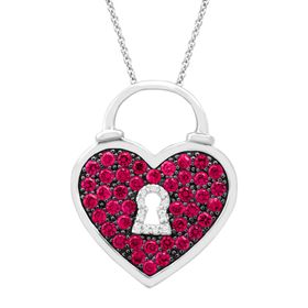 1 ct Ruby Heart Pendant with Diamonds