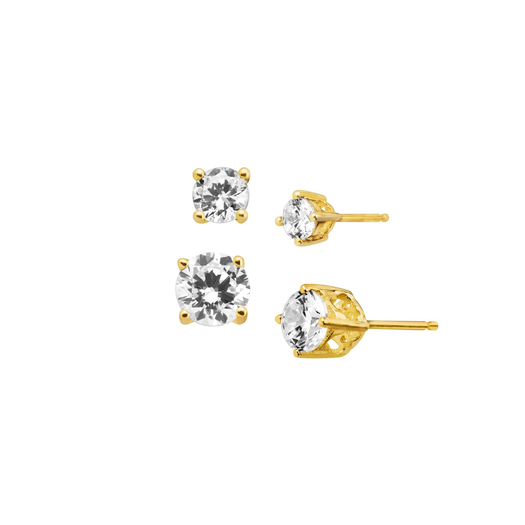 e85cf5f4def782 Set of Two Cubic Zirconia Stud Earrings in 18K Gold-Plated Sterling ...