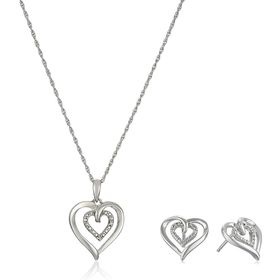 Heart Pendant & Earrings Set With Diamonds
