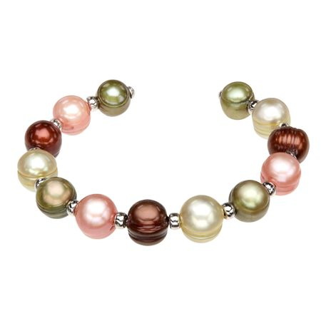 Multi-Color Pearl Cuff Bracelet