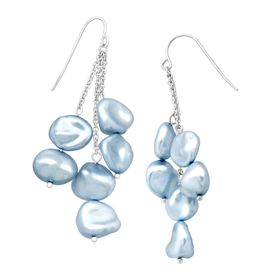 Sky Blue Keshi Pearl Cascade Drop Earrings