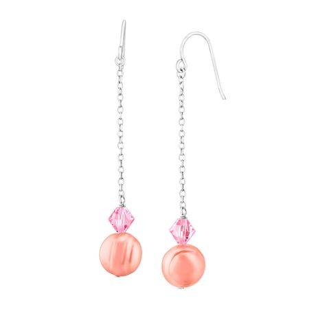 Raspberry Pearl Drop Earrings with Swarovski Crystals