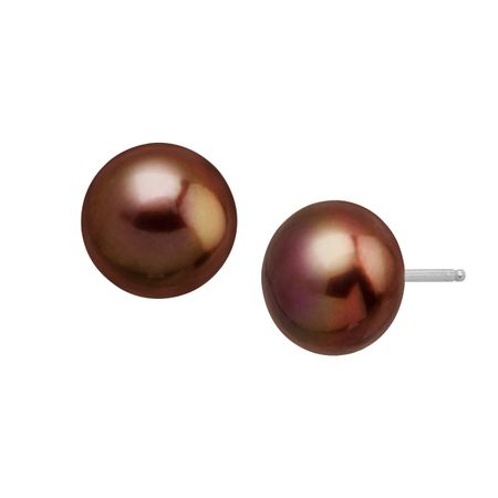 10 11 Mm Chocolate Pearl Stud Earrings