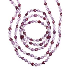 Mixed Plum Baroque Pearl Necklace & Bracelets Set
