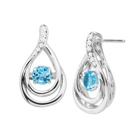 1 ct Blue Topaz & White Sapphire Floater Earrings