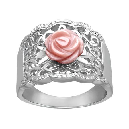 Pink Mother-of-Pearl Flower Ring