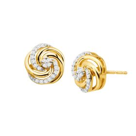 1/8 ct Diamond Swirl Knot Earrings