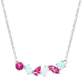 1 ct Pink Sapphire & Opal Garland Necklace