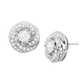 1 ct Diamond Swirl Stud Earrings