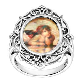 Angel Mother-of-Pearl Scalloped Frame Ring
