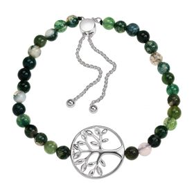 Family Tree Green Agate Bead Bolo Bracelet