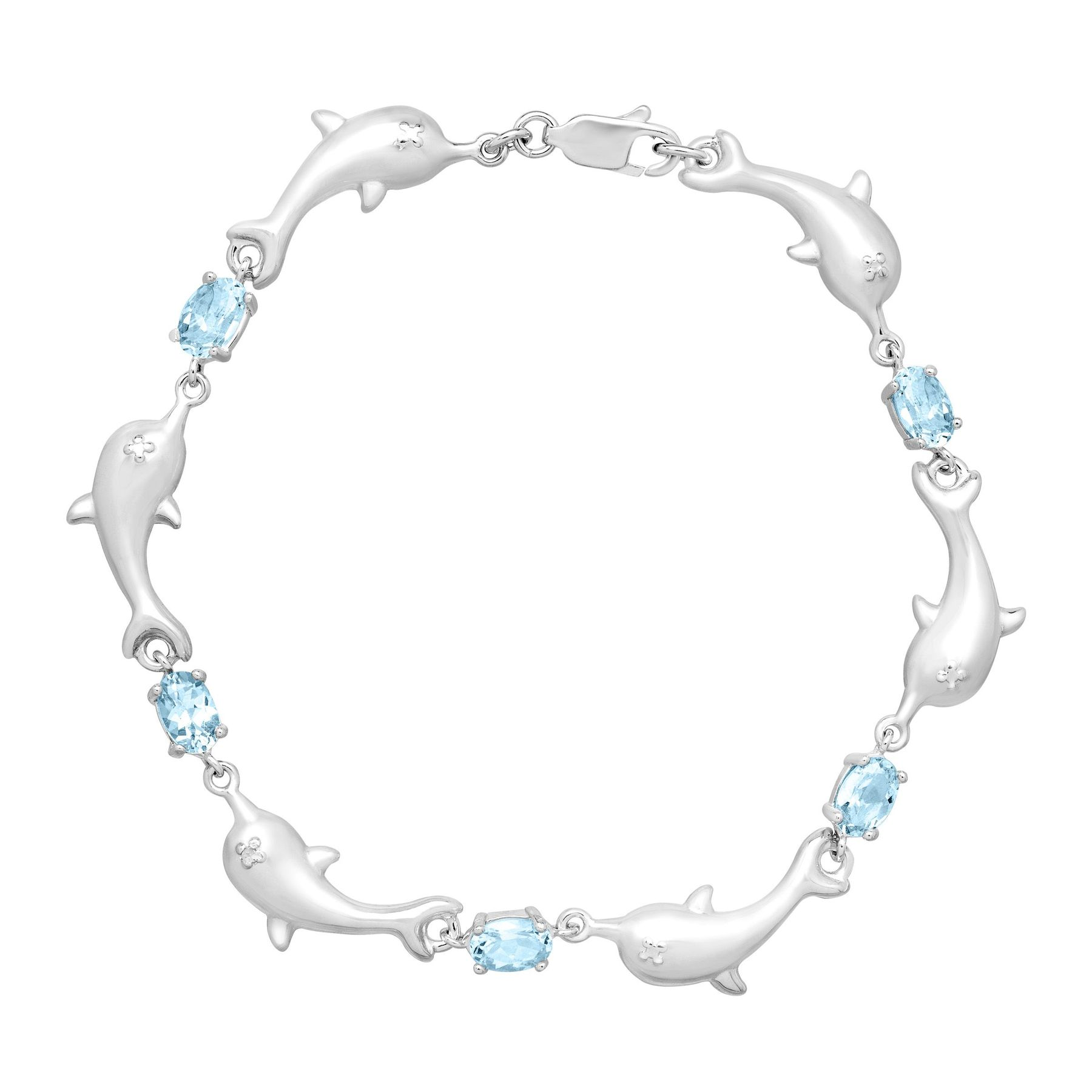 2 7 8 Ct Sky Blue Topaz Dolphin Bracelet With Diamond