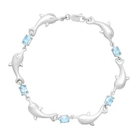 2 7/8 ct Sky Blue Topaz Dolphin Bracelet with Diamond