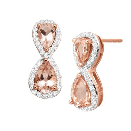 1 ct Morganite & 1/4 ct Diamond Earrings