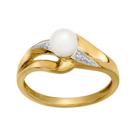 3 mm Pearl Ring with Diamonds