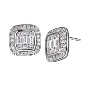1 1/3 ct White Topaz Tile Earrings