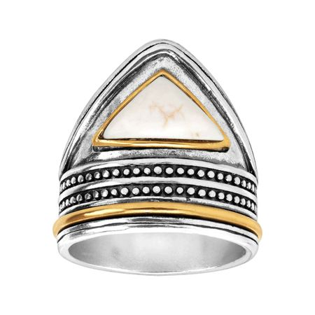 2ffc29828 Silpada 'Pinnacle' Brass, Howlite, and Sterling Silver Ring, Size 8 ...
