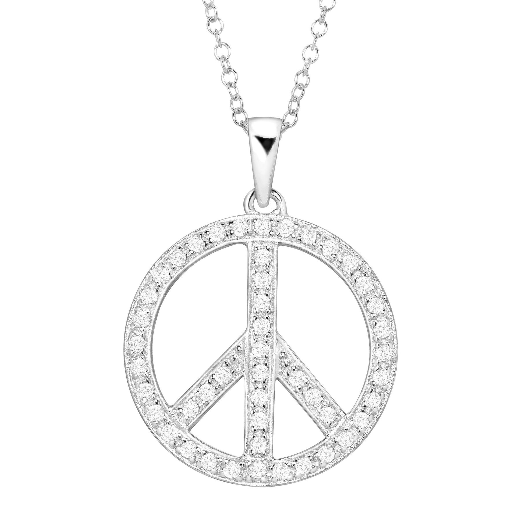 Peace symbol pendant with crystals in sterling silver peace symbol peace symbol pendant with crystals buycottarizona Gallery