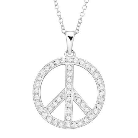 Peace symbol pendant with crystals in sterling silver peace symbol peace symbol pendant with crystals aloadofball Images