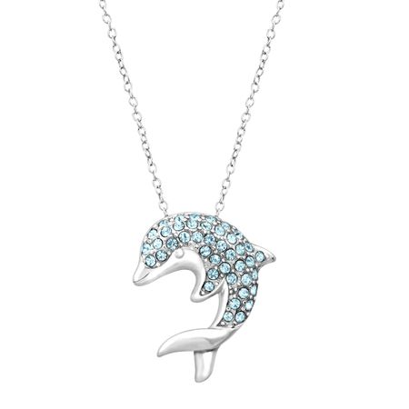 Aqua crystal dolphin pendant in sterling silver aqua crystal aqua crystal dolphin pendant aloadofball Choice Image