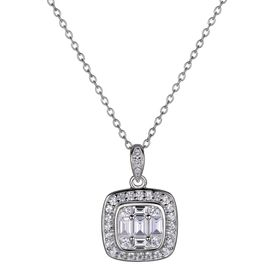 1 ct White Topaz Tile Pendant