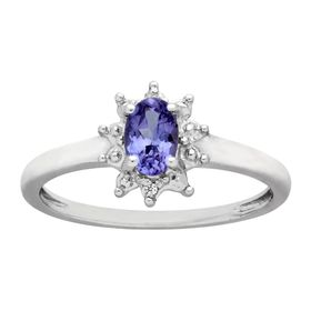 3/8 ct Tanzanite Ring with Diamonds