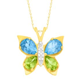 2 1/2 ct Topaz & Peridot Butterfly Pendant with Diamonds
