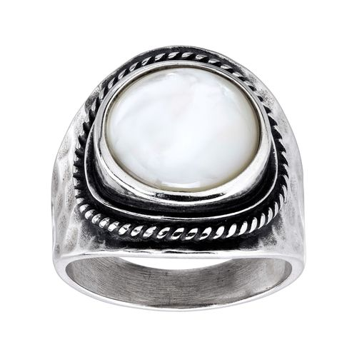 Details about  /Ring Inlaid Mother of Pearl Silver Adjustable Ring Indonesia