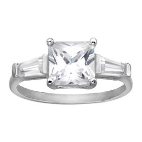 Three Stone Ring with Cubic Zirconia