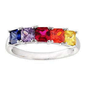 Ruby & Multi-Colored Cubic Zirconia Band Ring