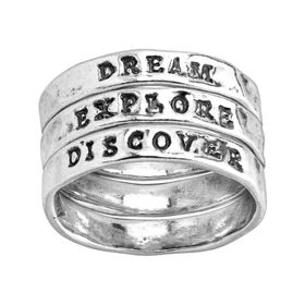 Explore, Dream, Discover Stacking Rings