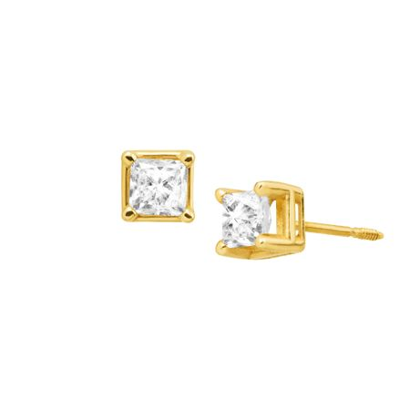 1 ct Princess-Cut Diamond Stud Earrings