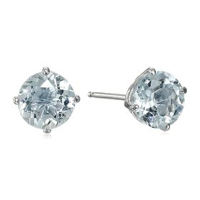 Aquamarine Solitaire Stud Earrings
